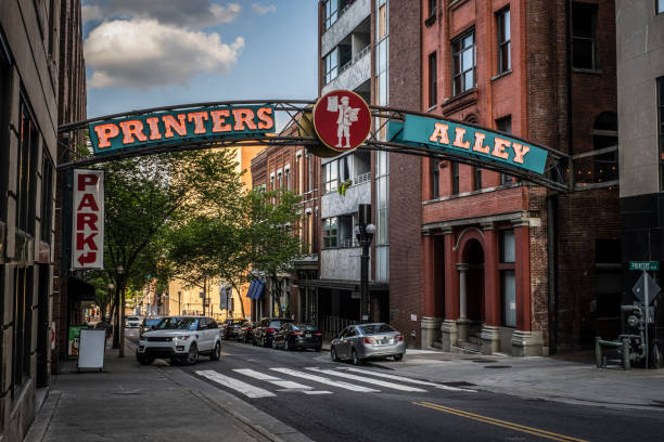 Printers Alley Sign in Downtown Nashville stock photo