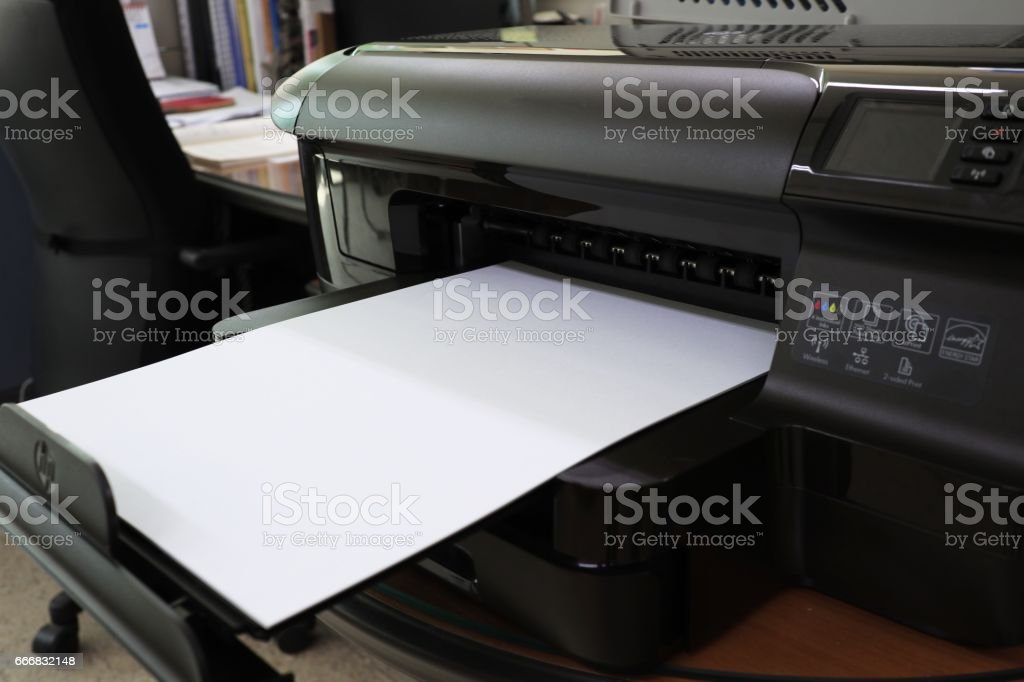 Printers with blank printouts stock photo