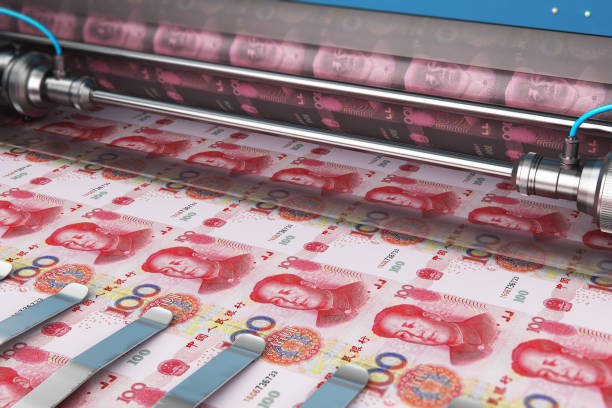 100 chinesische Yuan Geld Banknoten drucken – Foto
