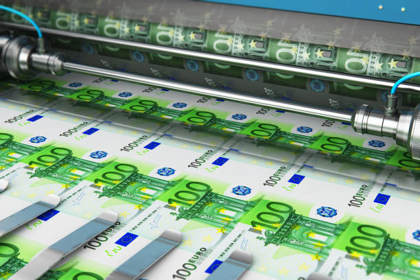 Printing 100 Euro money banknotes Business success, finance, banking, accounting and making money concept: printing 100 Euro money paper cash banknotes on print machine in typography euro symbol stock pictures, royalty-free photos & images