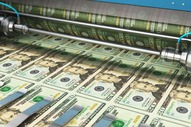printing 20 us dollar usd money banknotes - graphic print stock photos and pictures