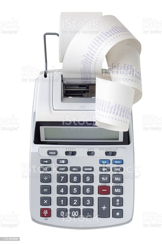 Printing calculator with a lot of paper coming out stock photo