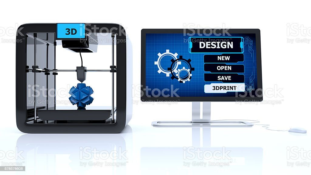 3D printing digital menu concept stock photo