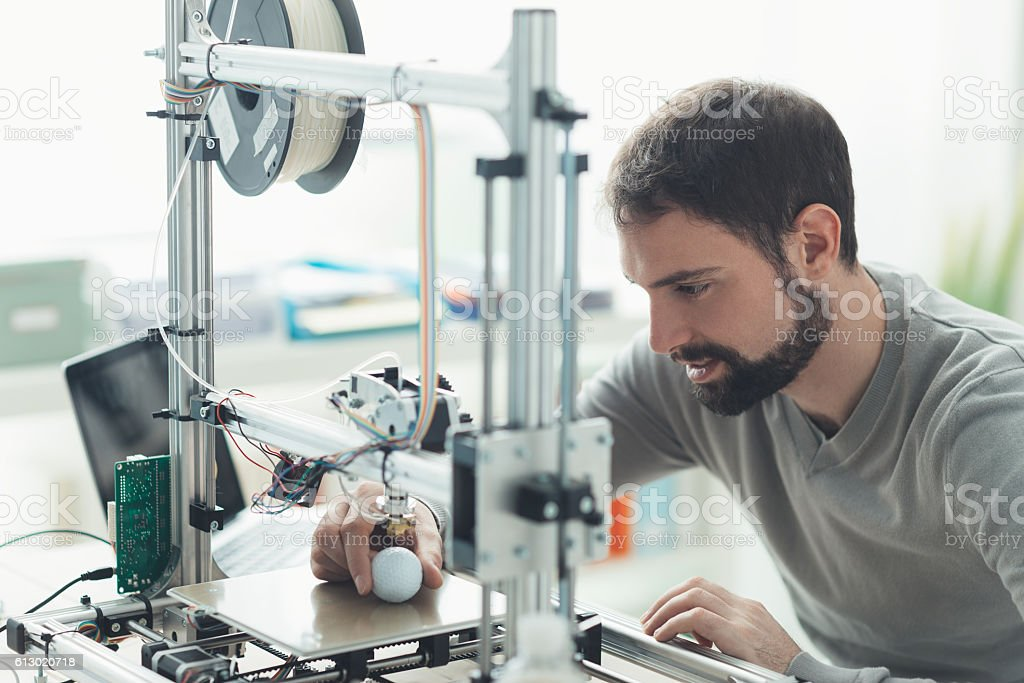 3D printing in the laboratory royalty-free stock photo