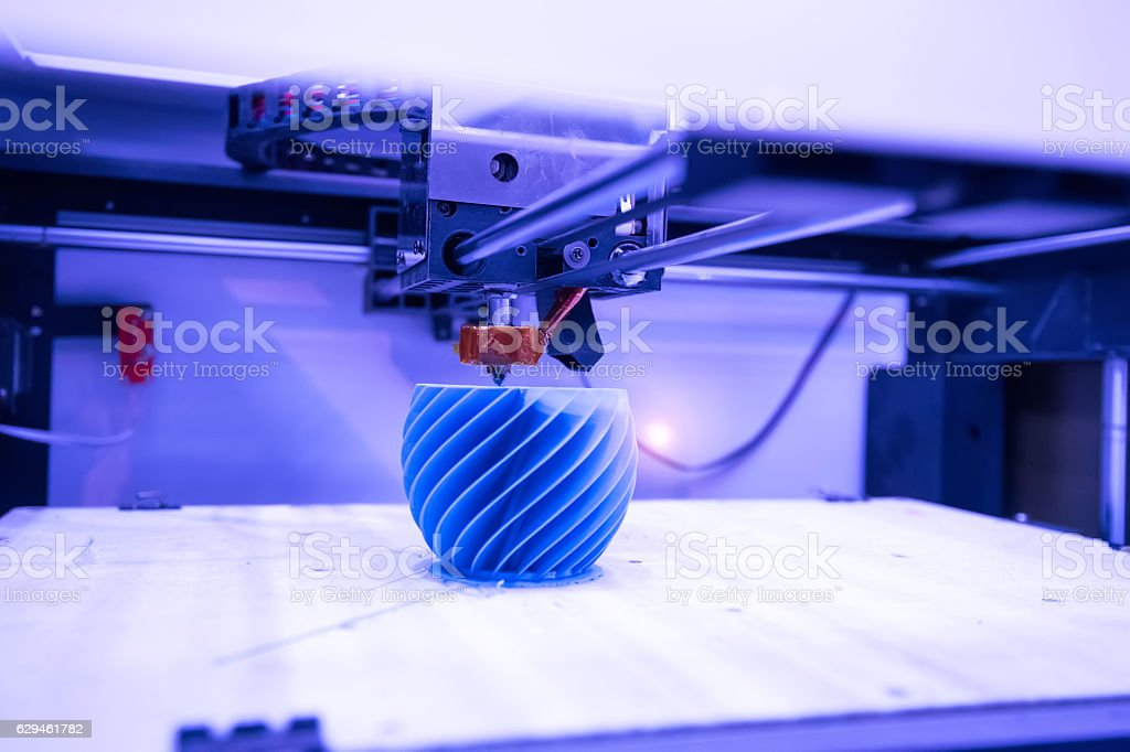 3D printing machine detail stock photo