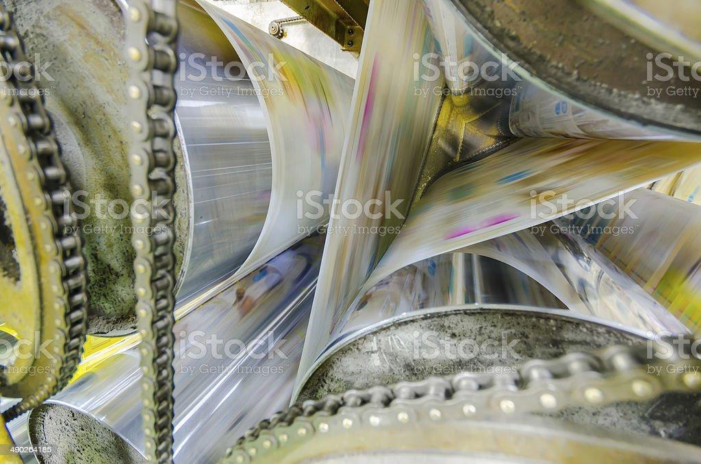 Printing machine, hit set speed roto offset print press stock photo