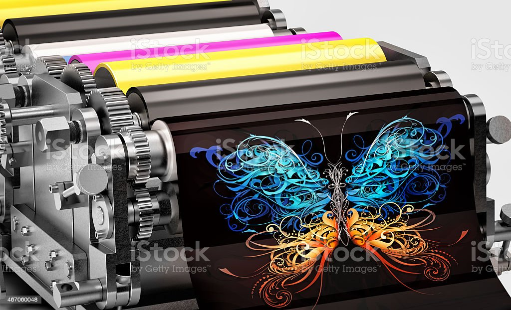 printing machine showing an abstract butterfly print stock photo