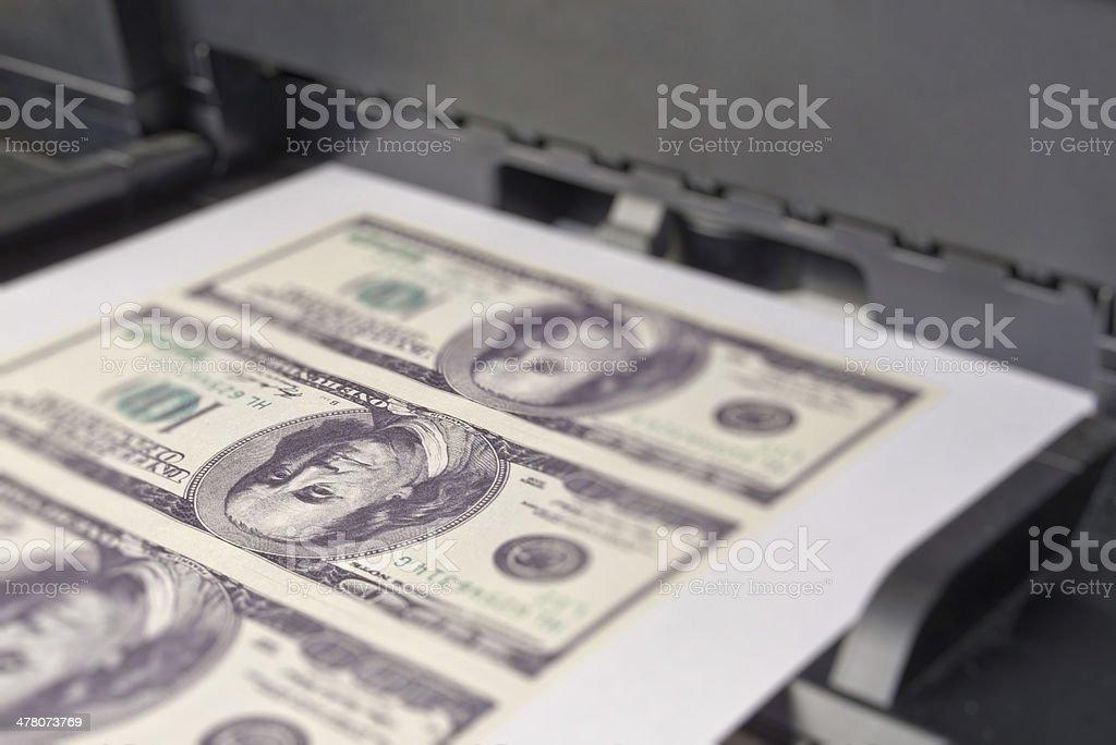 Printing money royalty-free stock photo