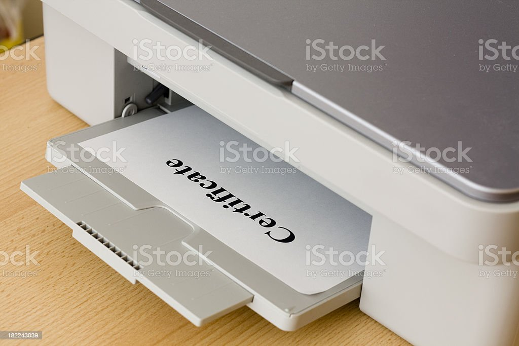 \'Printing out the word \'\'Certificate\'\'\'
