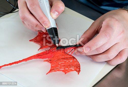 899701486 istock photo 3-D printing pen creating a dragon shape 899701324