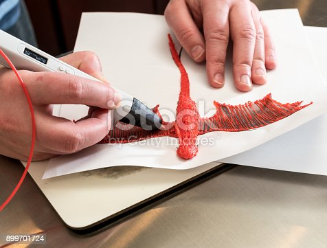 istock 3-D printing pen creating a dragon shape 899701724