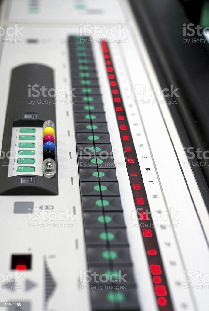 Printing Press Console royalty-free stock photo