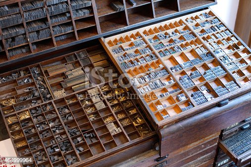 istock Printing press letters and accessories 464999964
