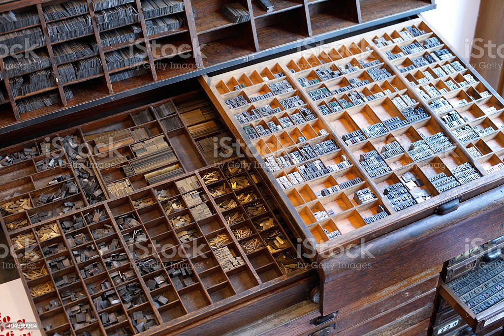 Printing press letters and accessories stock photo