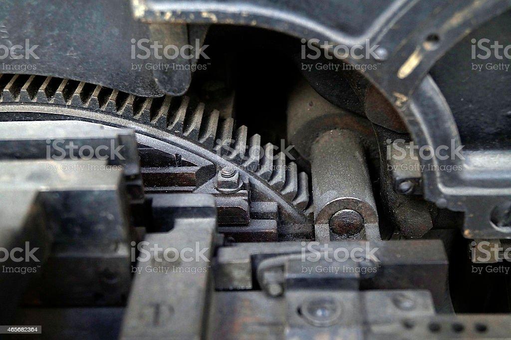 Printing Press Machinery, Mechanical Linotype Machine, Intertype Machine stock photo