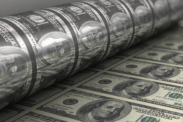drucken us-dollar-banknoten - ausdrucken stock-fotos und bilder
