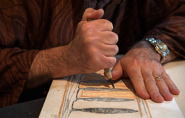 printmaking - woodcut stock photos and pictures
