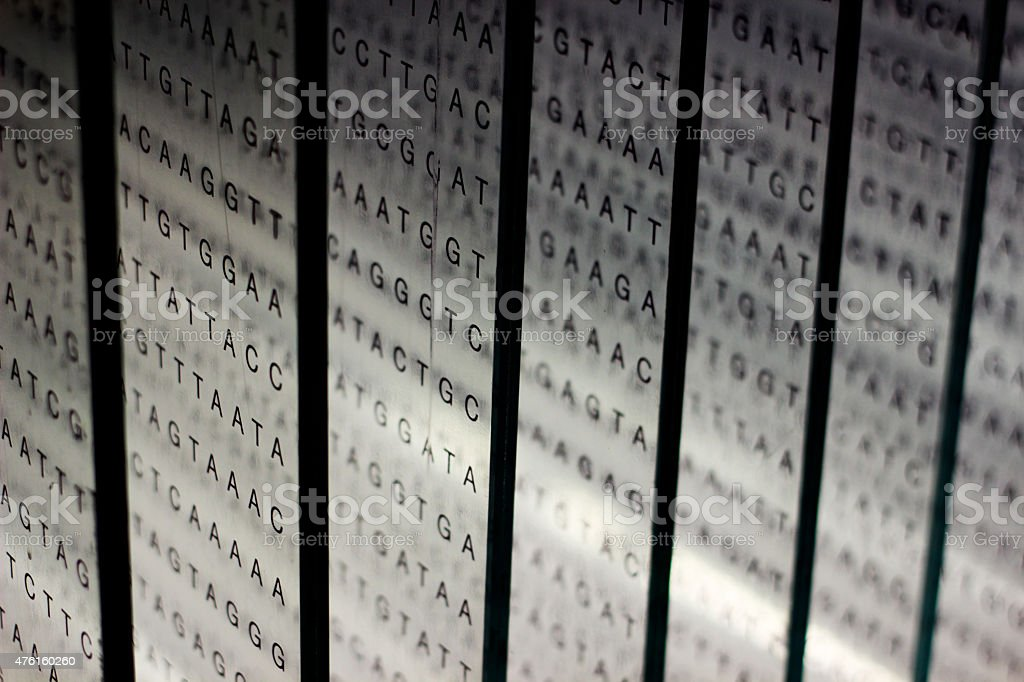 printout of DNA nucleotide sequence on glass stock photo