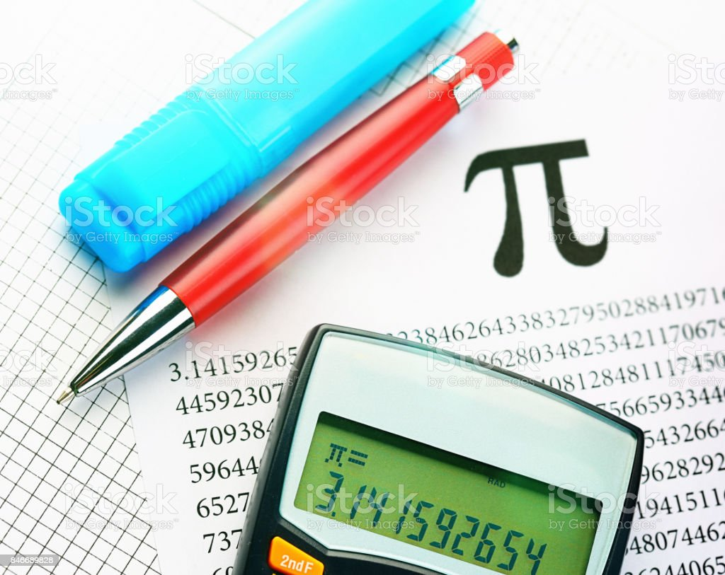 Printout Pens And Calculator Calculating Value Of Pi Stock