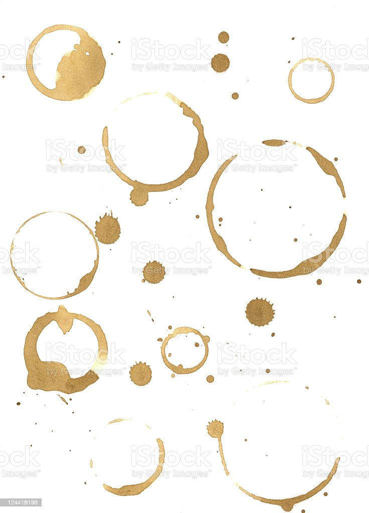Prints of coffee spilled on the paper royalty-free stock photo