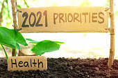 istock 2021 priorities banner in natural background. New Year 2021 setting health as priority and goal concept. 1286811853