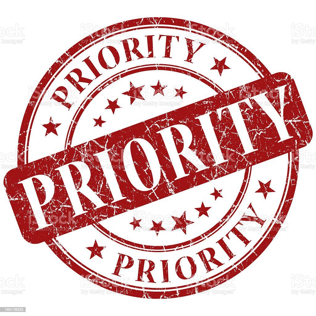 priority red round stamp stock photo