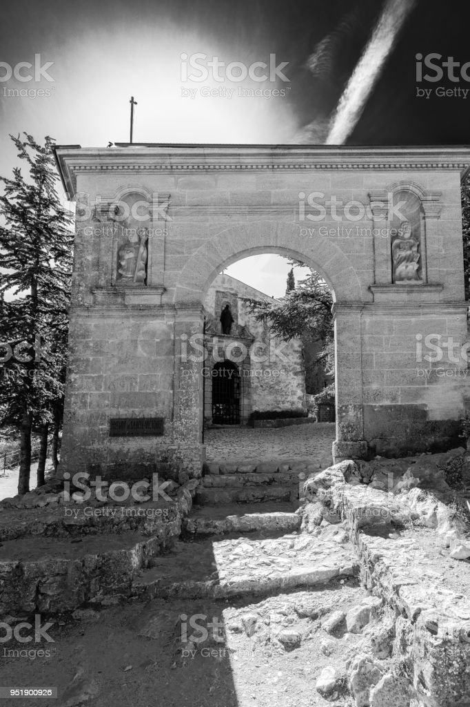 Priory at the top of the Montagne Sainte Victoire stock photo