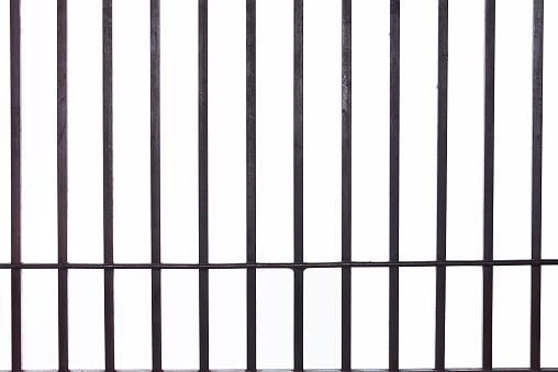 isolated iron prison bars.