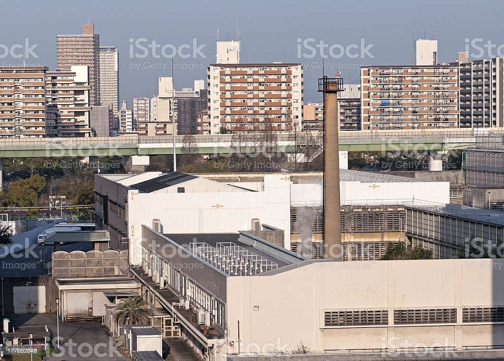 Prison building and apartments by expressway in Osaka royalty-free stock photo
