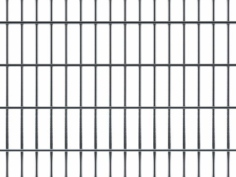 Prison cell bar seamless texture isolated on white.