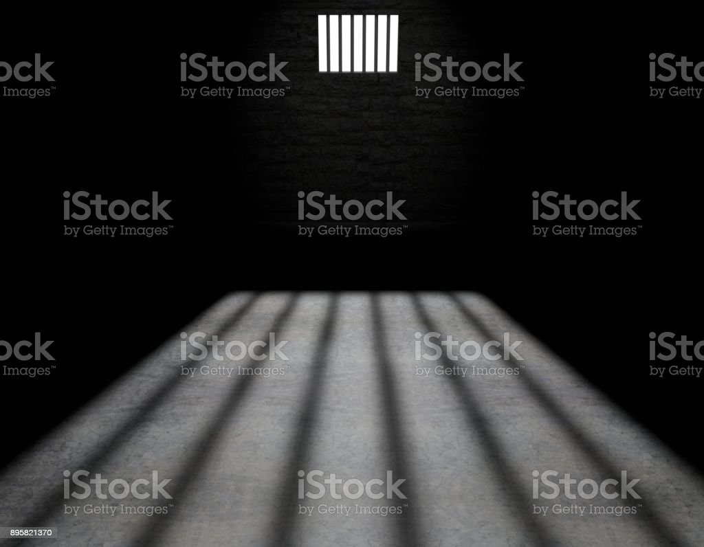 Prison cell, inside a prison cell, 3d rendering stock photo