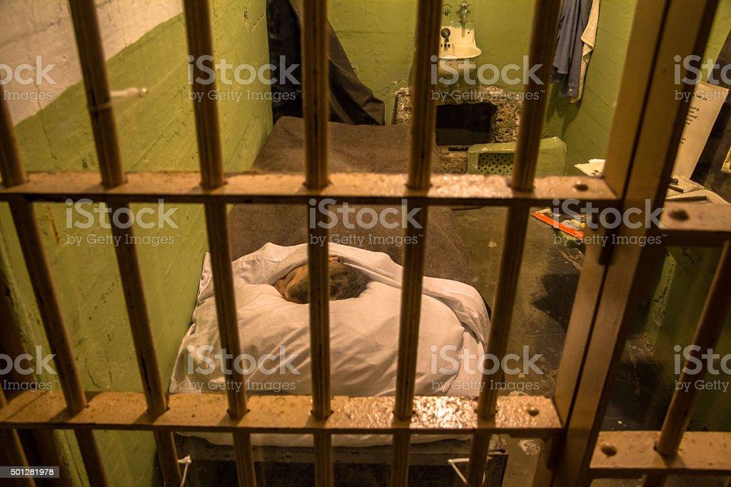 Prison cell on Alcatraz Island, San Francisco stock photo