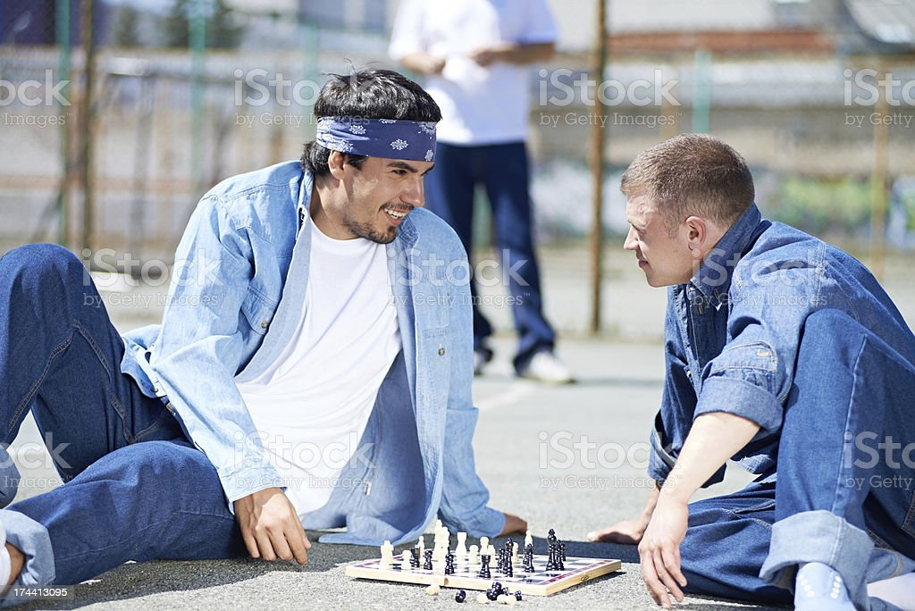 Prison chess players stock photo