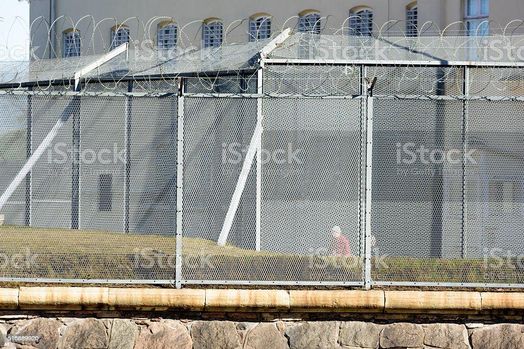 Prison exercise area stock photo