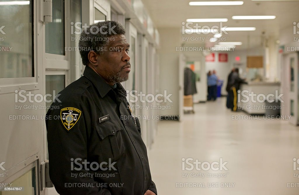 Prison Guard on Duty stock photo