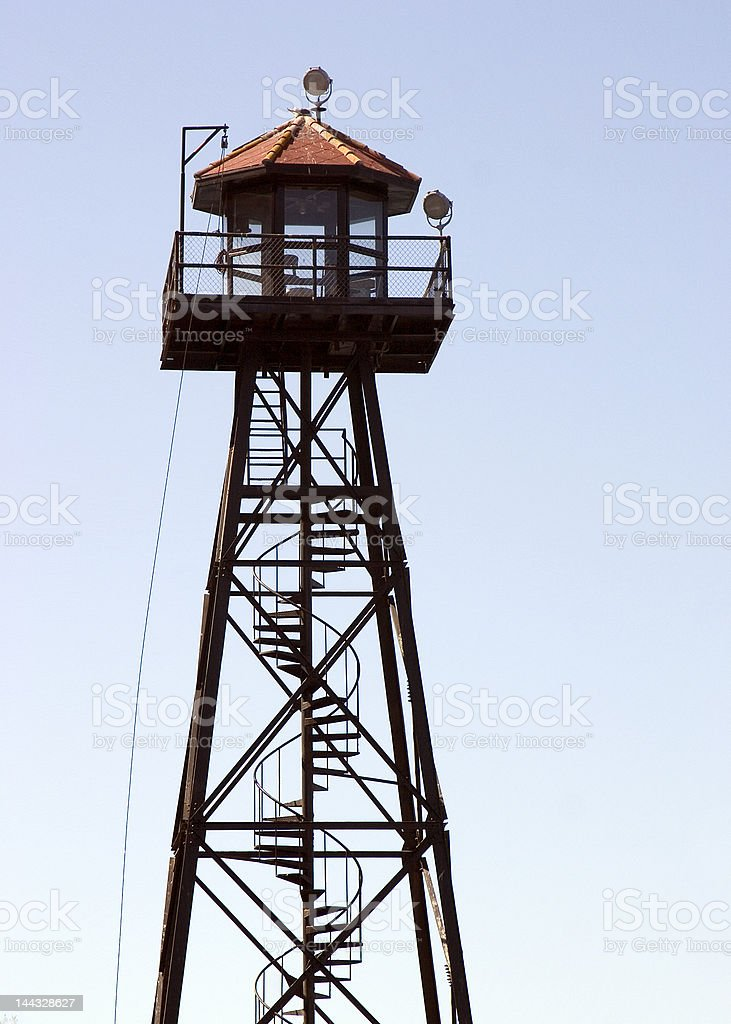 prison guard tower stock photo