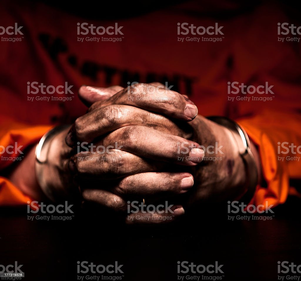Prison Hands stock photo