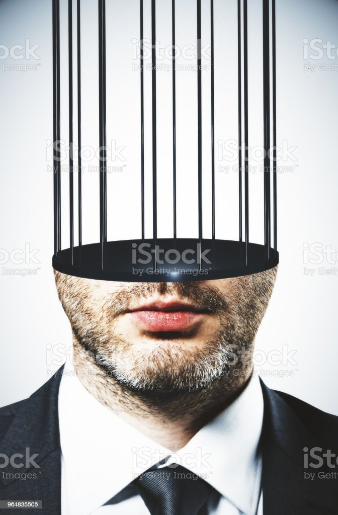Prison headed man royalty-free stock photo
