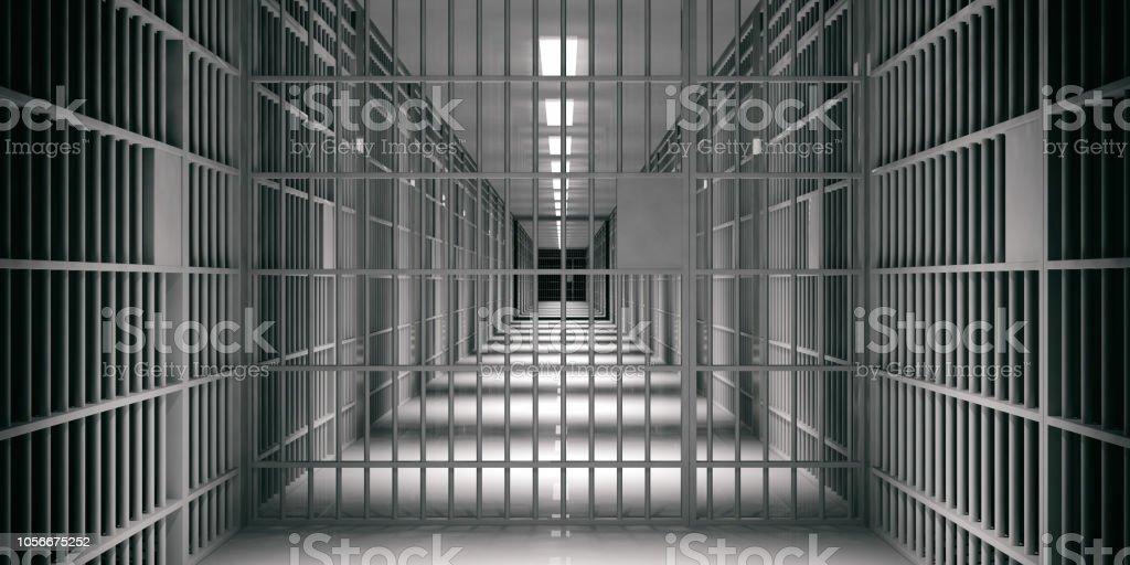 Prison interior. Jail cells, dark background. 3d illustration stock photo