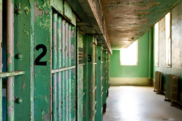 Prison jail cells stock photo