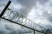 istock Prison security fence. Barbed wire security fence. Razor wire jail fence. Barrier border. Boundary security wall. Prison for arrest criminals or terrorists. Private area. Military zone concept. 1251649818
