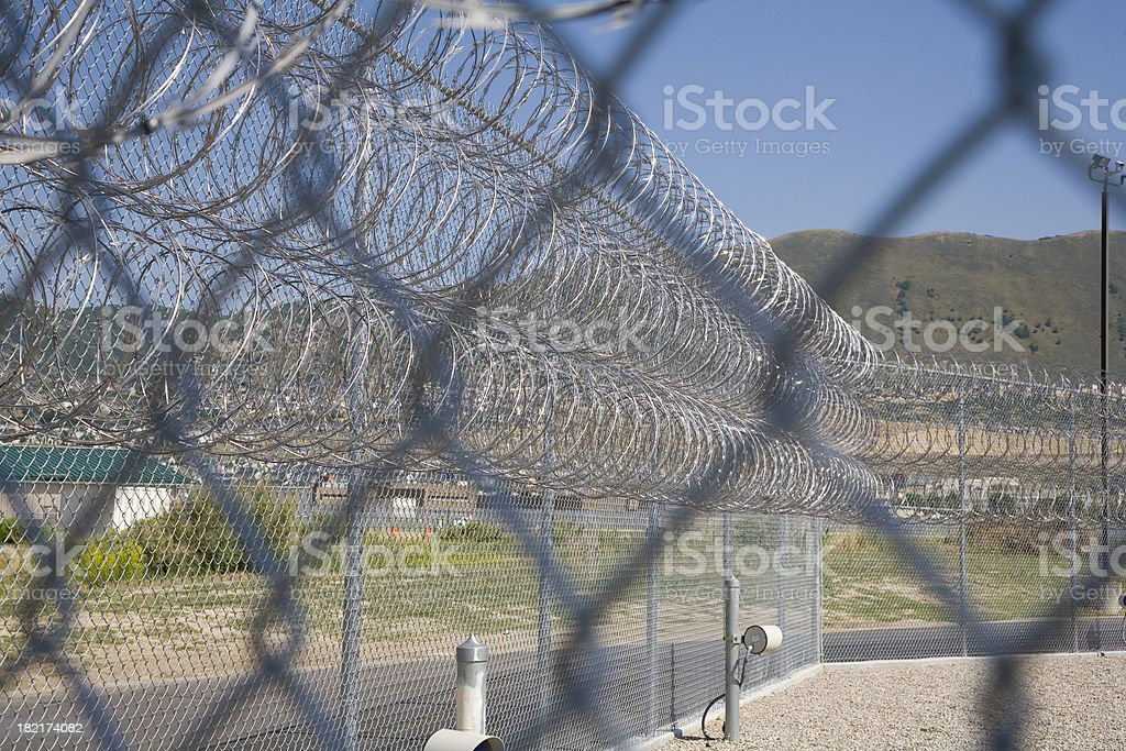 Prison Security Fence royalty-free stock photo