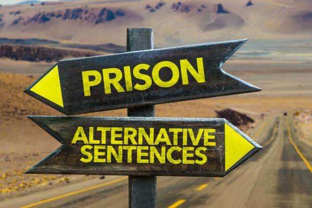 Prison vs Alternative Sentence stock photo
