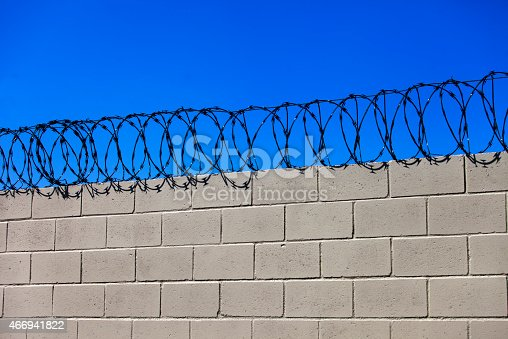 Prison wall - barbed wire