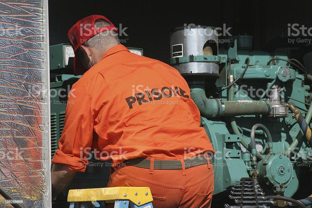 Prisoner at work stock photo