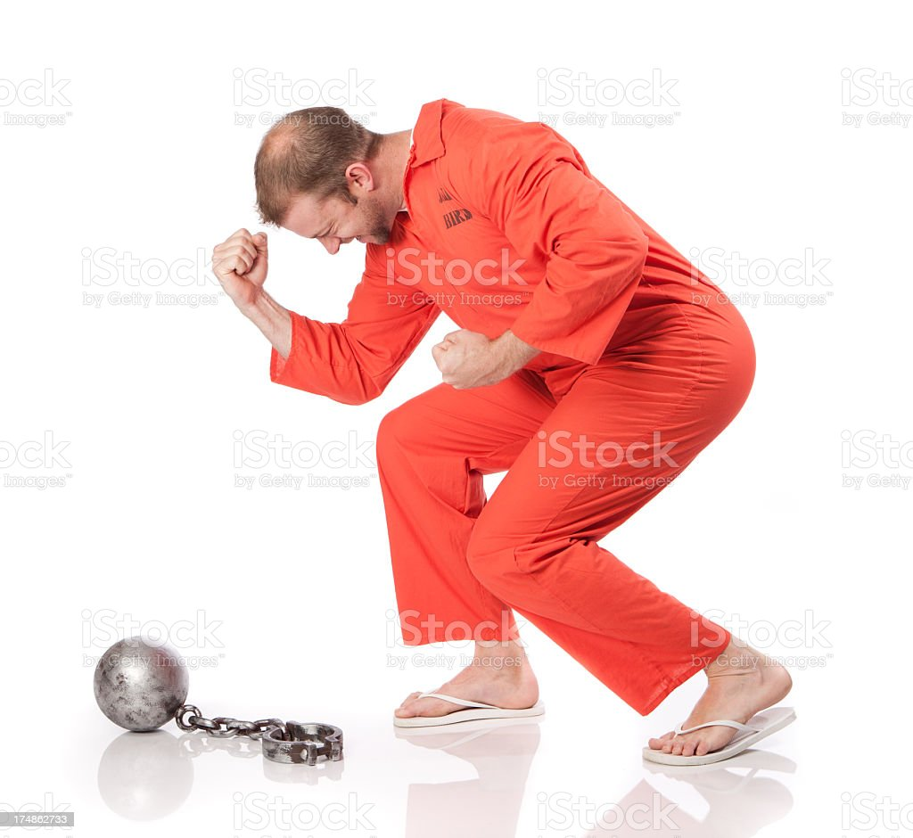Prisoner Celebrates Freedom stock photo