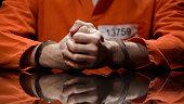 キルト、取調室を否定してかみしめ拳、手錠に囚人