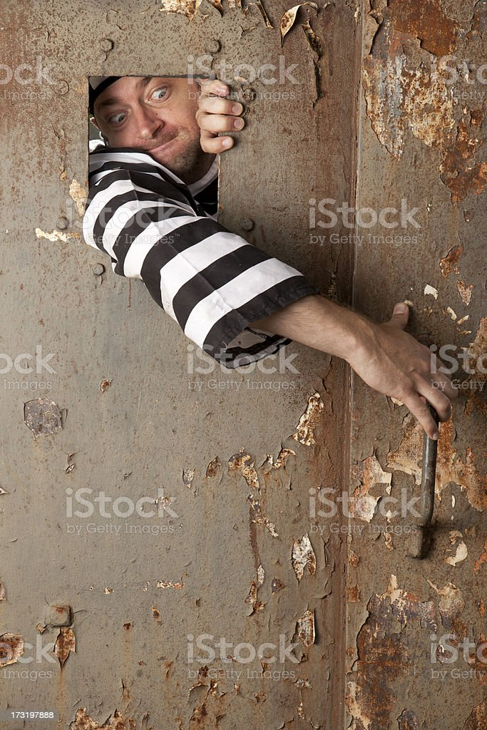 Prisoner looking to escape stock photo