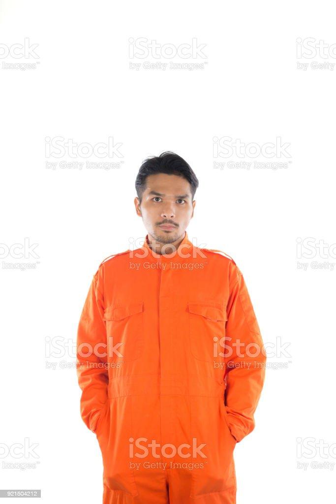 Prisoner man isolated on white background. stock photo
