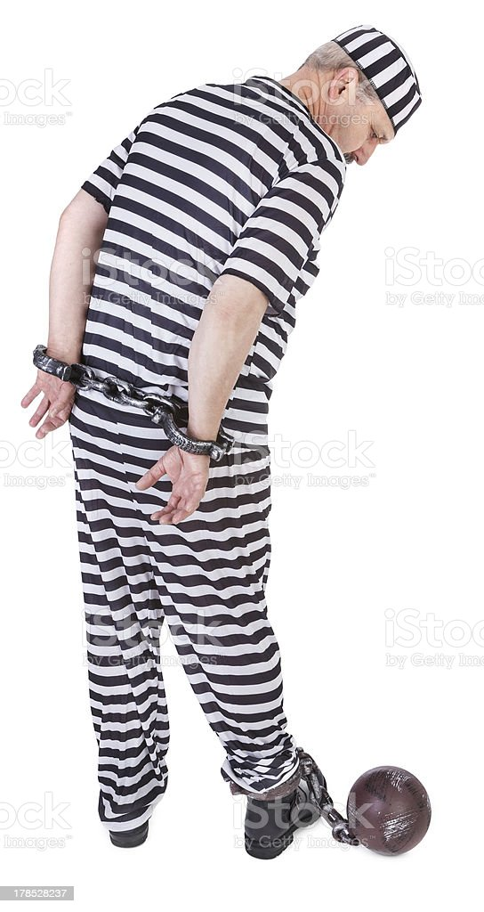 prisoner on white - view from behind royalty-free stock photo